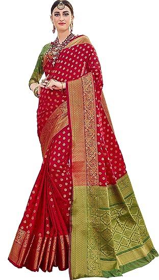 2f4d69d5ee EthnicJunction Booti Zari Butta Banarasi Silk Saree With Zari Thread Work  Unstitched Blouse Piece(EJ1178-7978, Kumkum Red): Amazon.in: Clothing & ...