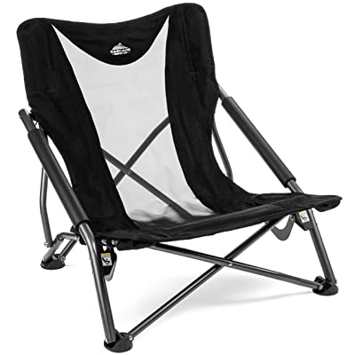 Cascade Mountain Tech Compact Low Profile Camp Chair – Portable Outdoor Folding Camp Chair with Carry Case with Carry Case : Sports & Outdoors