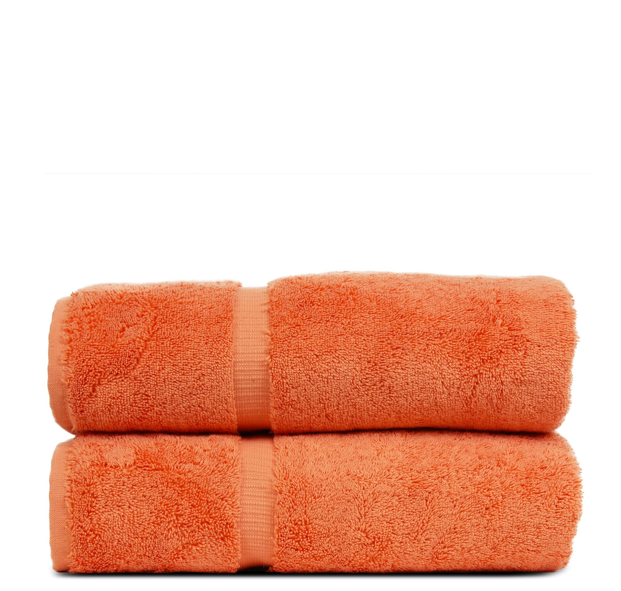 BC BARE COTTON Luxury Hotel & Spa Towel Turkish Cotton Bath Towels - Coral - Dobby Border - Set of 2