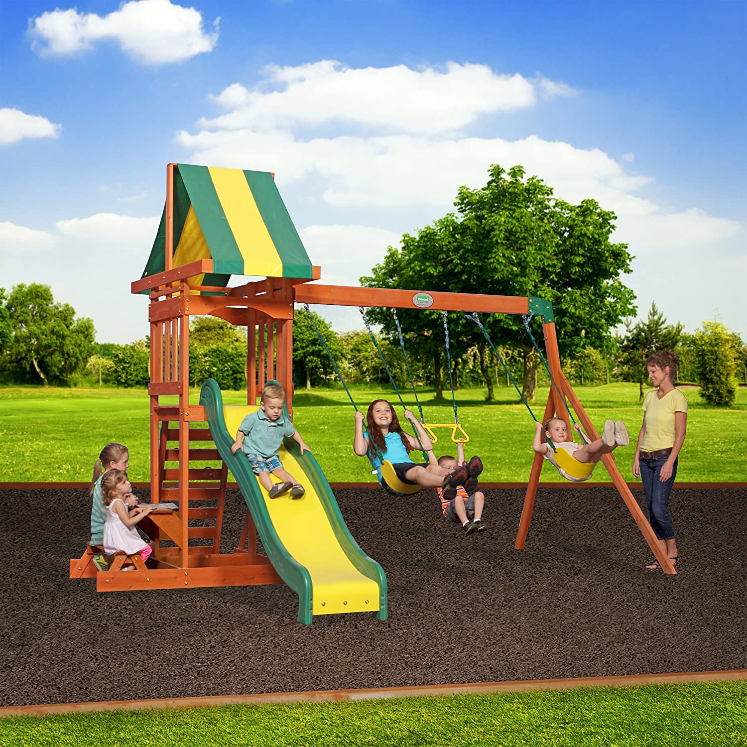 Amazon.com: Backyard Discovery Prestige All Cedar Wood Playset Swing Set:  Toys U0026 Games