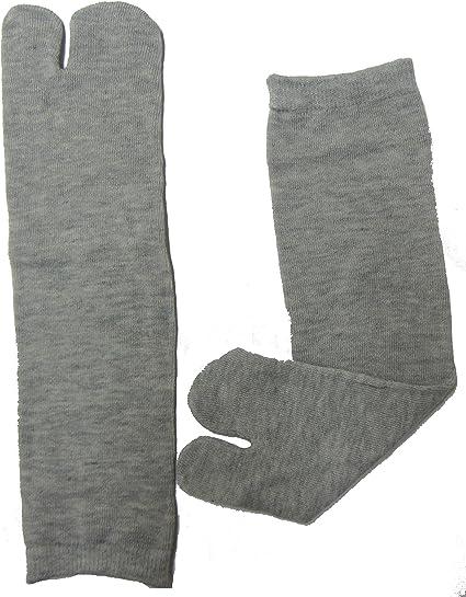 Osaka Japan TABI SOCKS, GEISHA,Geta, Japanese 100% Cotton Comfy Ninja, Ninjutsu Tabi Socks Improved, (CNA) GREY Senior/Adult