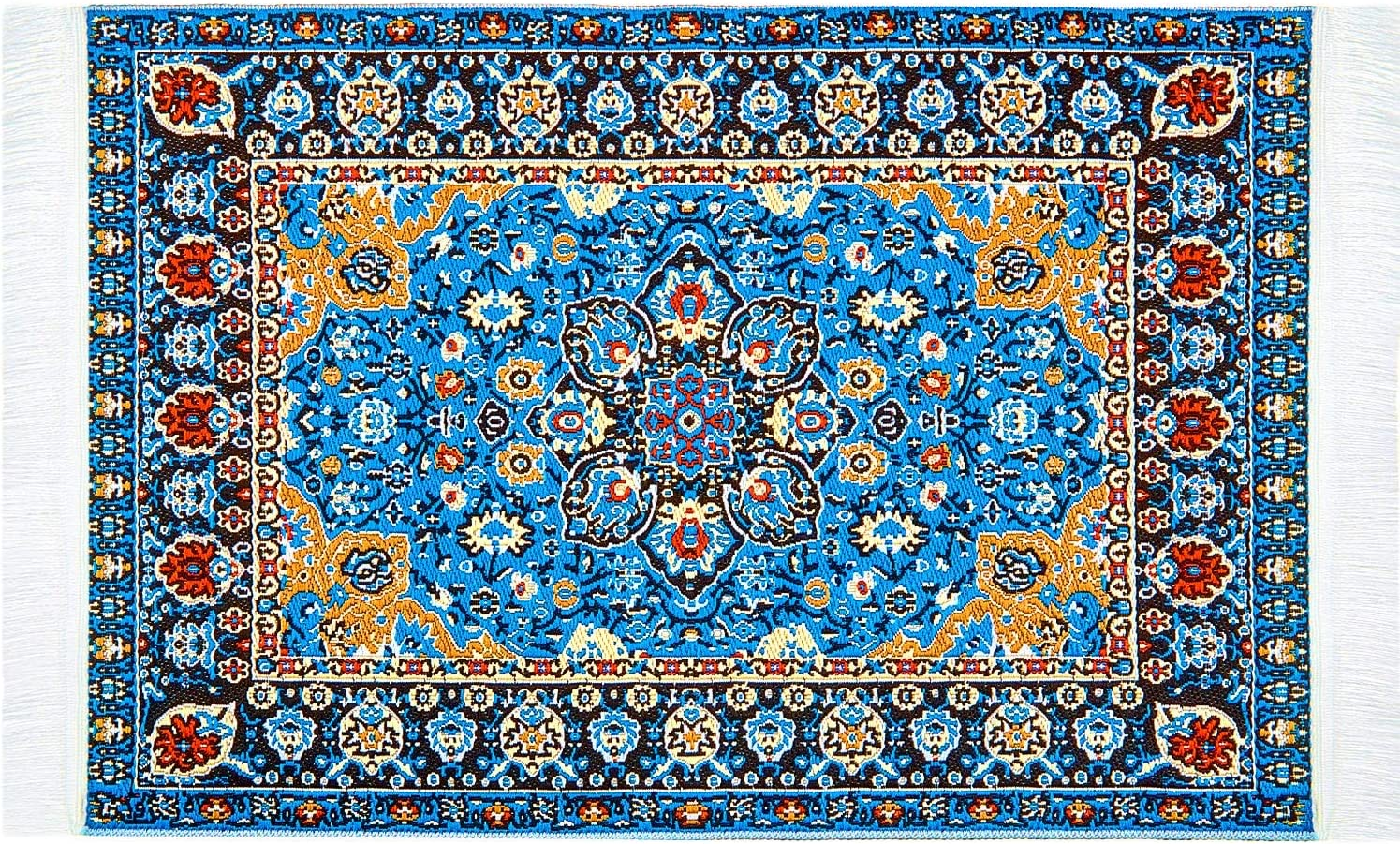 Skylety 1:12 Miniature Carpet Blue Floral Print Vintage Woven Rug Miniature Turkey Rug Bedroom Floor Furniture Accessory Blanket for Miniature Dollhouse Decoration