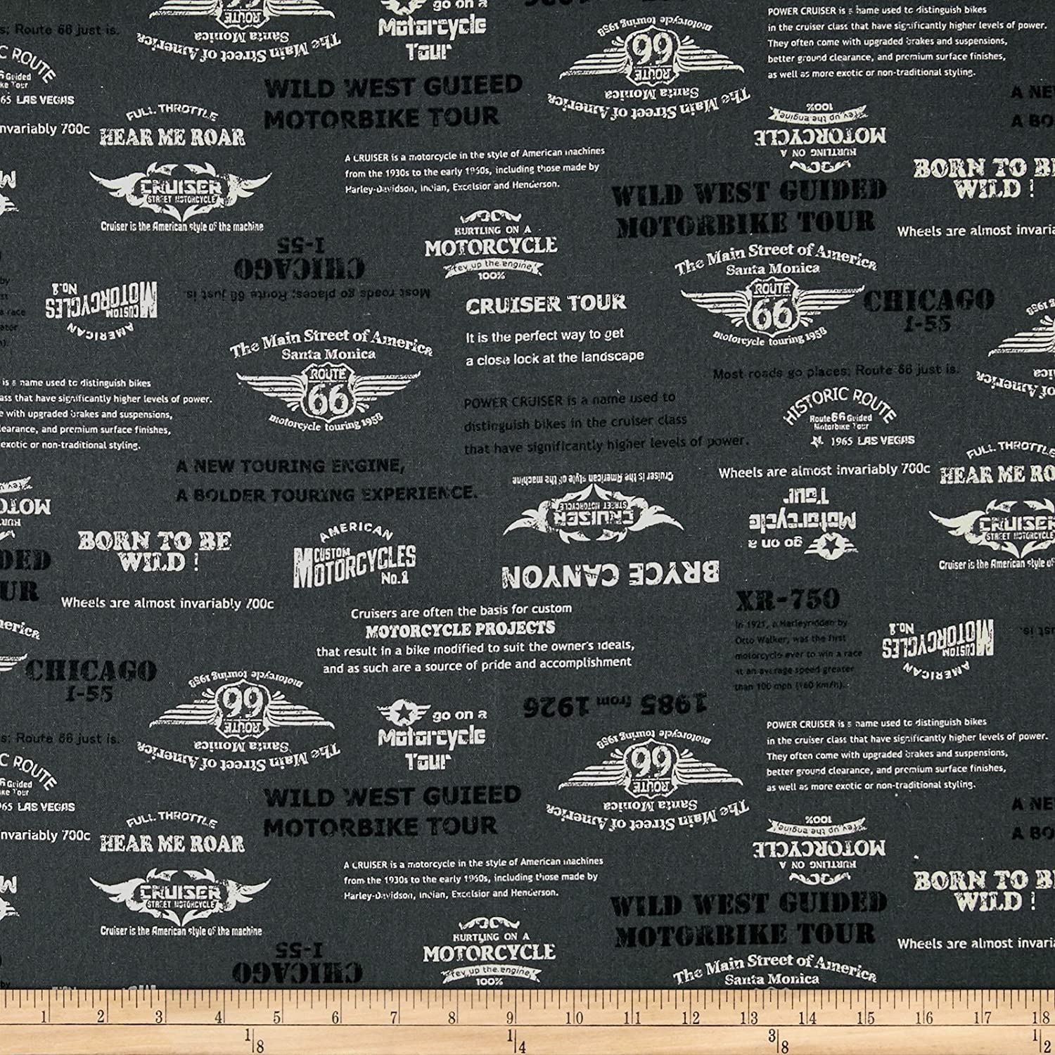 Cosmo Motorcycles Words Cotton Linen Blend Grey Fabric By The Yard