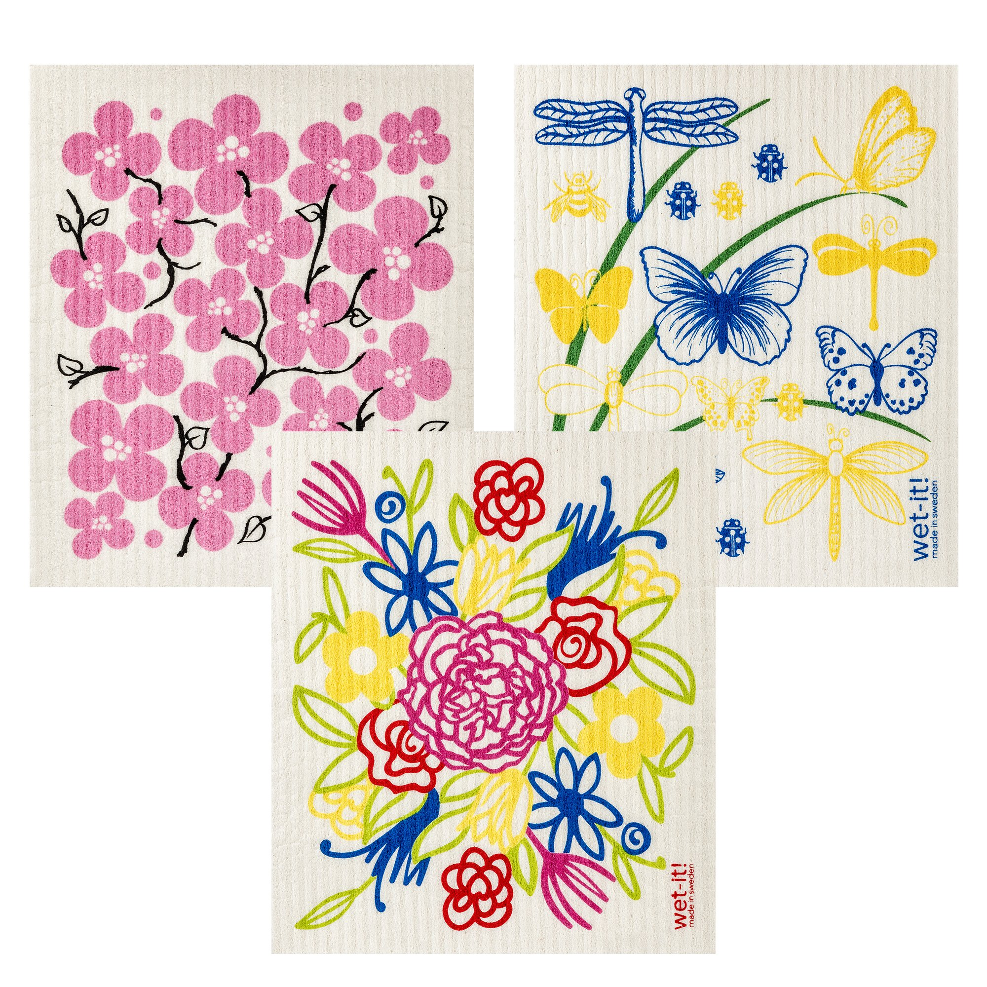 Wet-It Swedish Dishcloth Set of 3 (Flower Bouquet, Flower Patch and Butterflies)