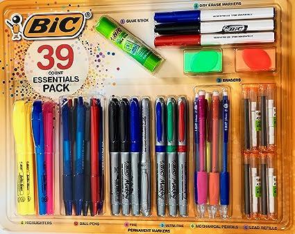 BIC 39 Essentials Pack incluye rotulador, rotulador, marcador permanente, portaminas, marcador de borrado en seco, pegamento, recambios, goma de borrar, todo en uno, necesidades de artículos de papelería: Amazon.es: Oficina y papelería