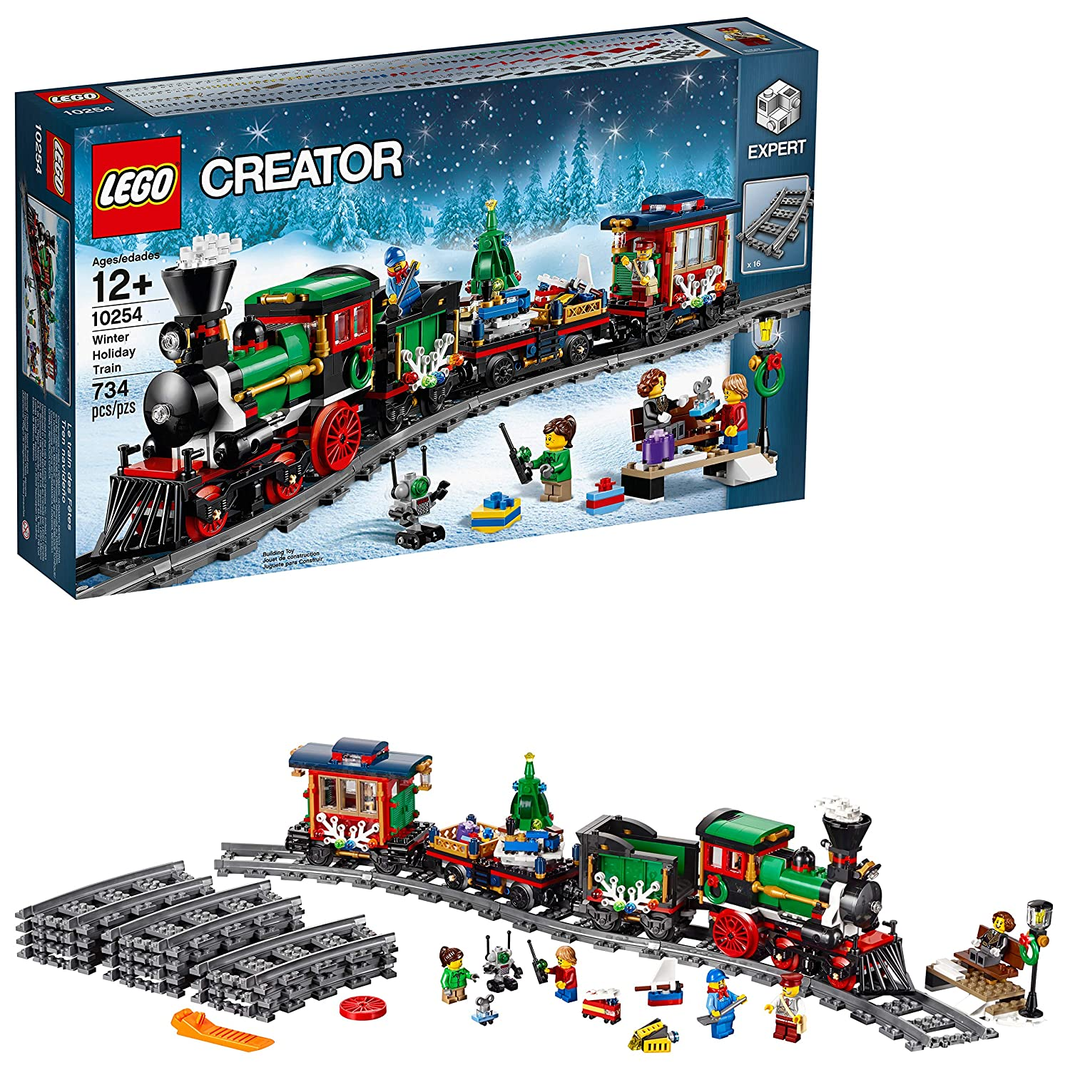 Christmas Train Set.Lego Creator Expert Winter Holiday Train 10254 Christmas Train Set With Full Circle Train Track Locomotive And Spinning Christmas Tree Toy 734