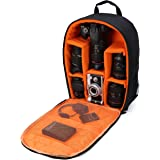 "Camera Bag Camera Backpack Waterproof 16"" X 13"" X 5"" with Rain Cover for DSLR Cameras , Lens, Tripod and Accessories (Orange, Large)"