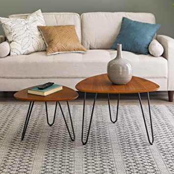 Admirable We Furniture Mid Century Modern Hairpin Coffee Table Set Living Room Nesting Walnut Pabps2019 Chair Design Images Pabps2019Com