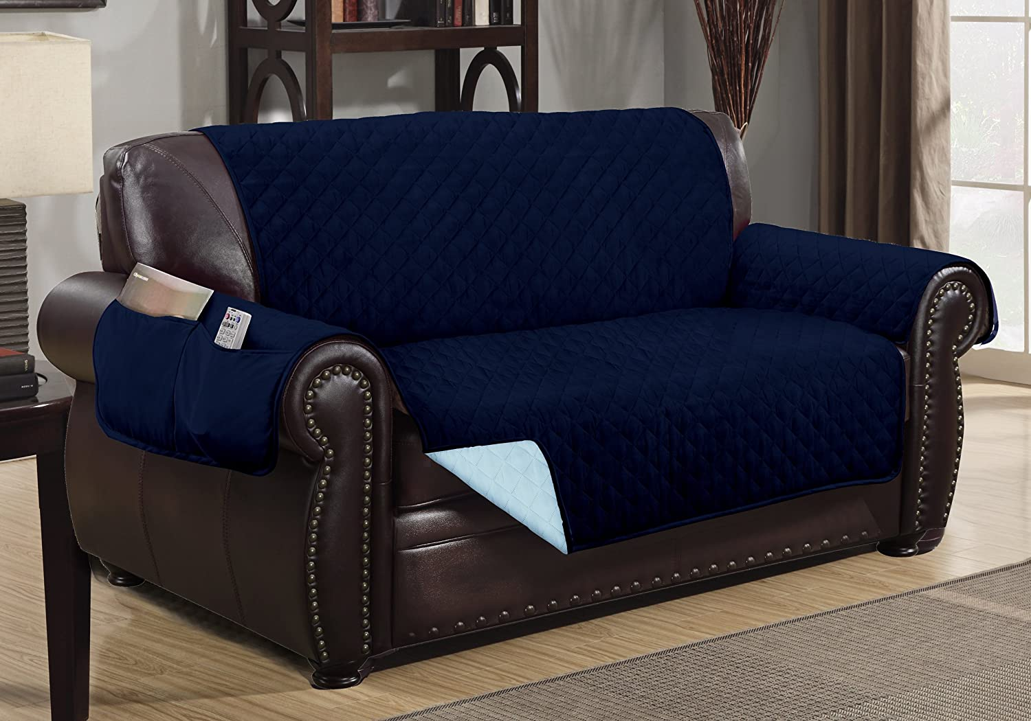 The Original DELUXE HOTEL Reversible and Waterproof Furniture Protector (Loveseat, Navy Blue / Light Blue)