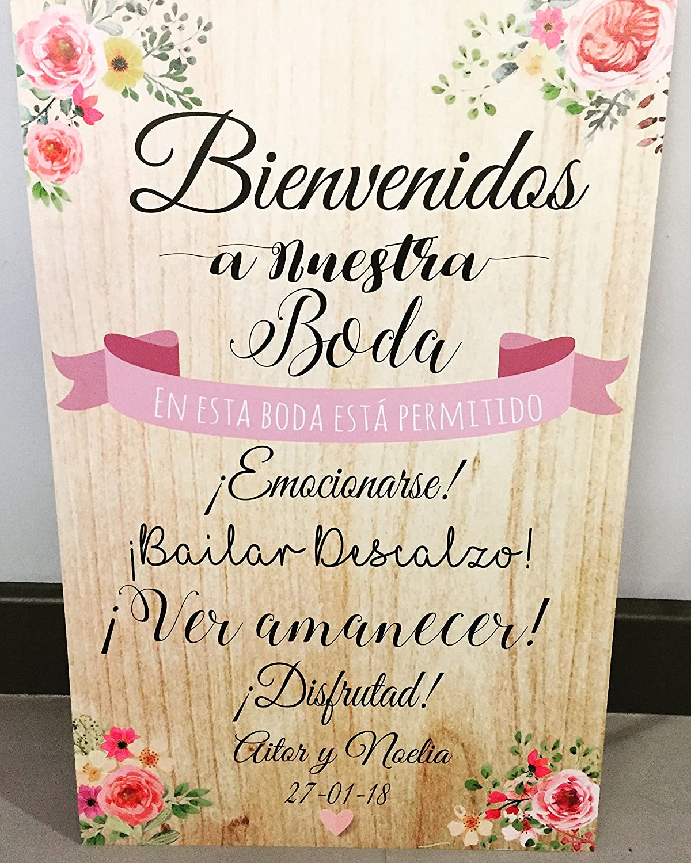 Cartel de Bienvenida a la Boda. 50 x 70 con base de madera ...