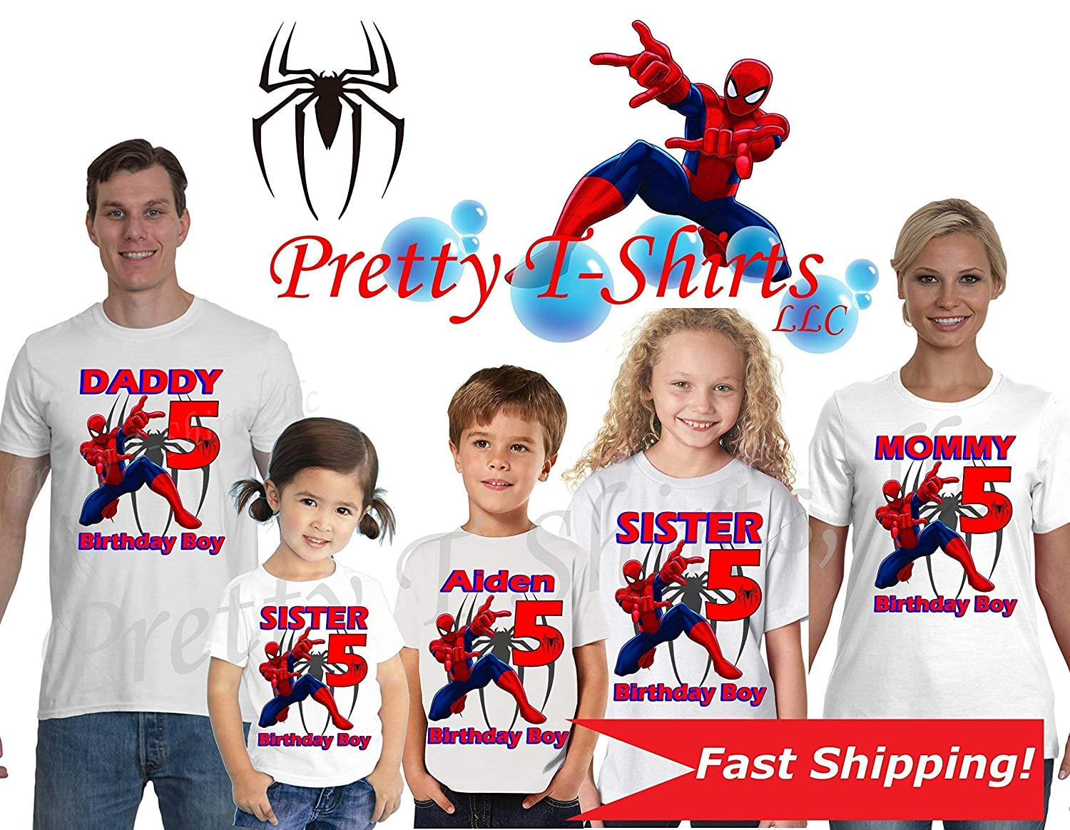 Amazon Spider Man Birthday Shirt We ADD Any Name And Age On It Family Shirts Spiderman Party Favor