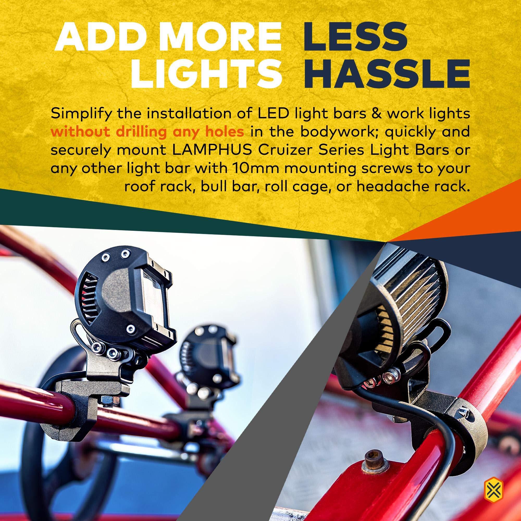 2 Years Warranty Mini Nilight 90027B 2-Pack 2PCS LED Light Horizontal Clamp Mounting Kit Fit on 0.75 1 1.25 Bull Bars Roof Racks Roll Cages for ATV UTV and Trucks