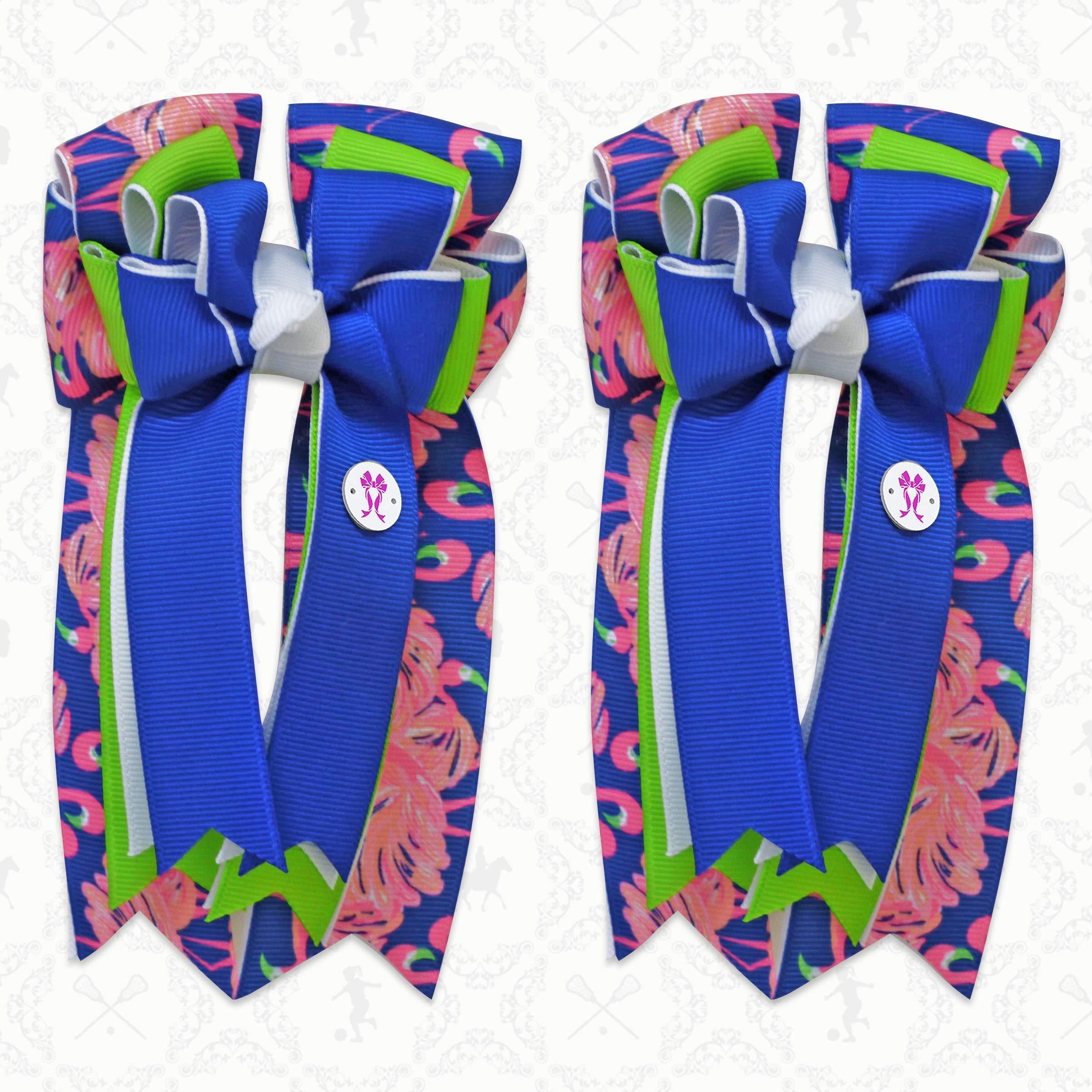 PonyTail Bows Equestrian Show Bow Set - Premium Handmade (Flamingo)