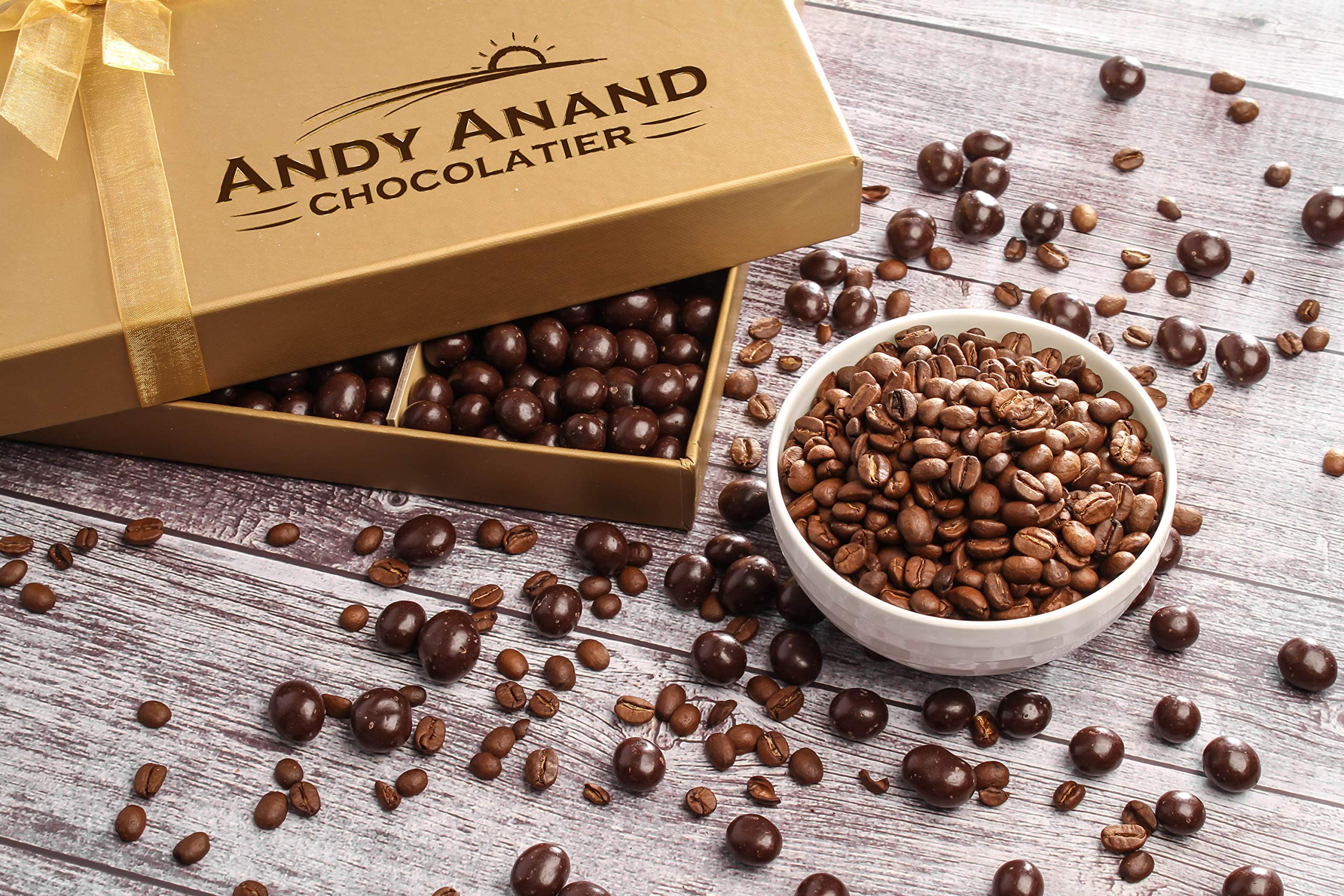 Andy Anand's California Dark Chocolate Covered Espresso Coffee Beans 1 lbs, for Birthday, Valentine Day, Gourmet Christmas Holiday Food Gift Basket, Thanksgiving, Mothers Fathers Day, Get Well Gift by Andy Anand Chocolates