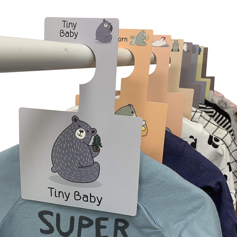 Separadores para armario de Bebé Belo + Me | Osos del Bosque | Paquete de 16 | Perchas para armario de doble cara | Se adapta a todos los rieles ...