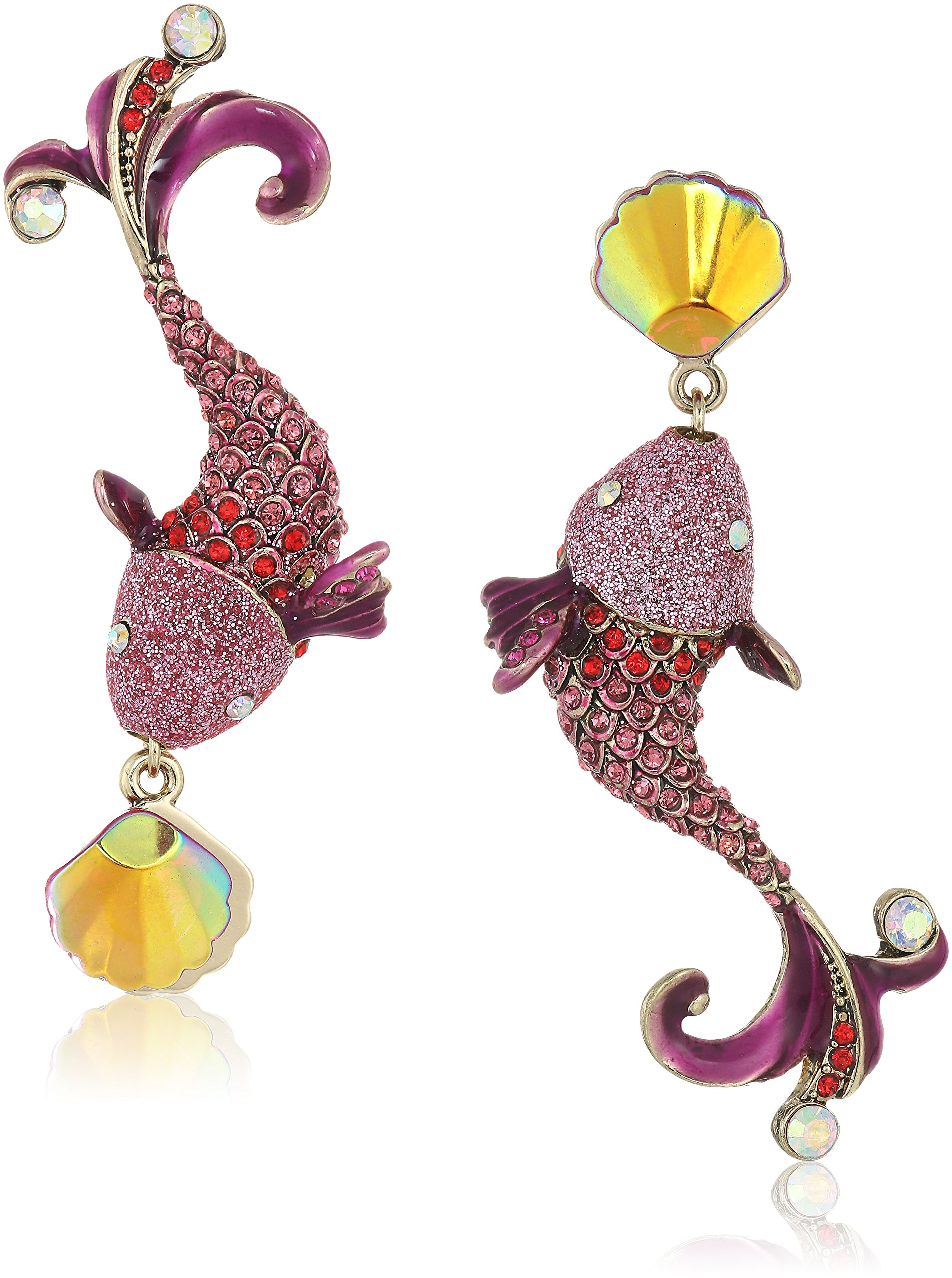Betsey Johnson Women's Crabby Couture Colorful Fish Mismatch Drop Earrings, Pink, One Size
