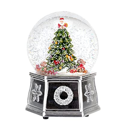 spode christmas tree musical tree snow globe small - Small Metal Christmas Tree