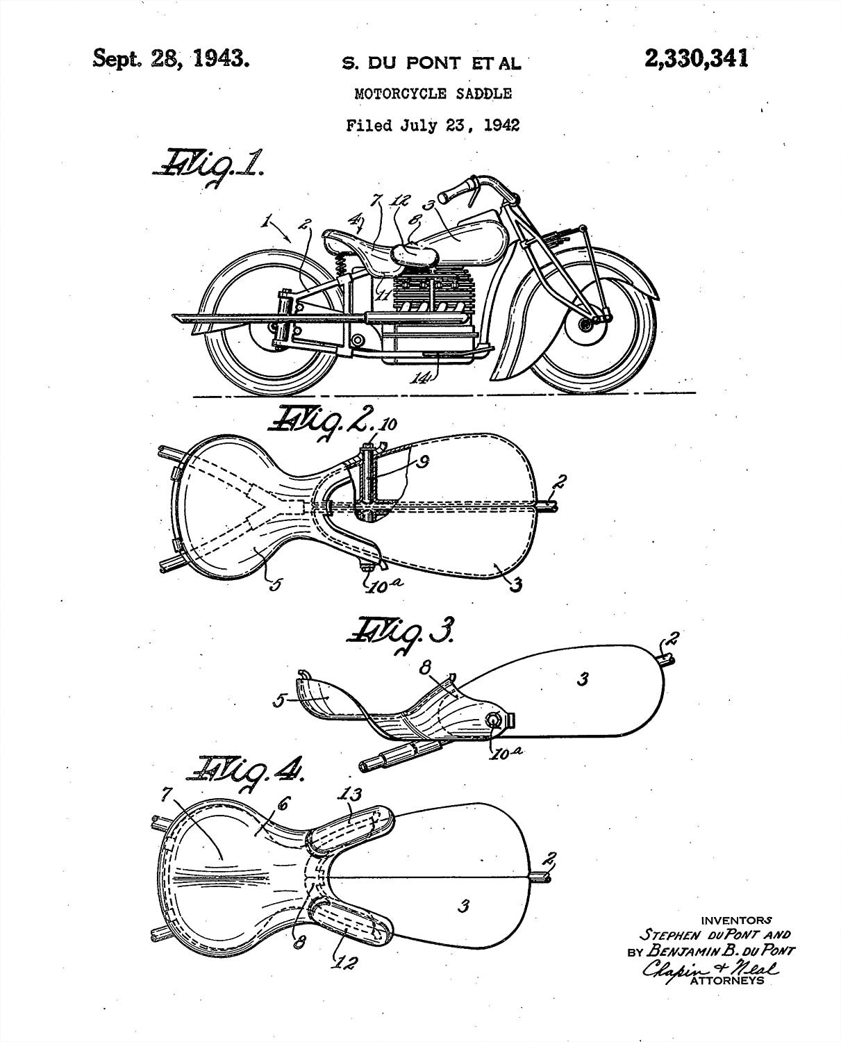 Great Indian Motorcycle Gift For Riders Set 1948 Engine Diagram Of Four 8x10 Vintage Patent Prints Handmade