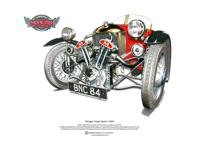 Art Cartel de Morgan Super Sports MX4, tamaño A3 George Morgan Illustration
