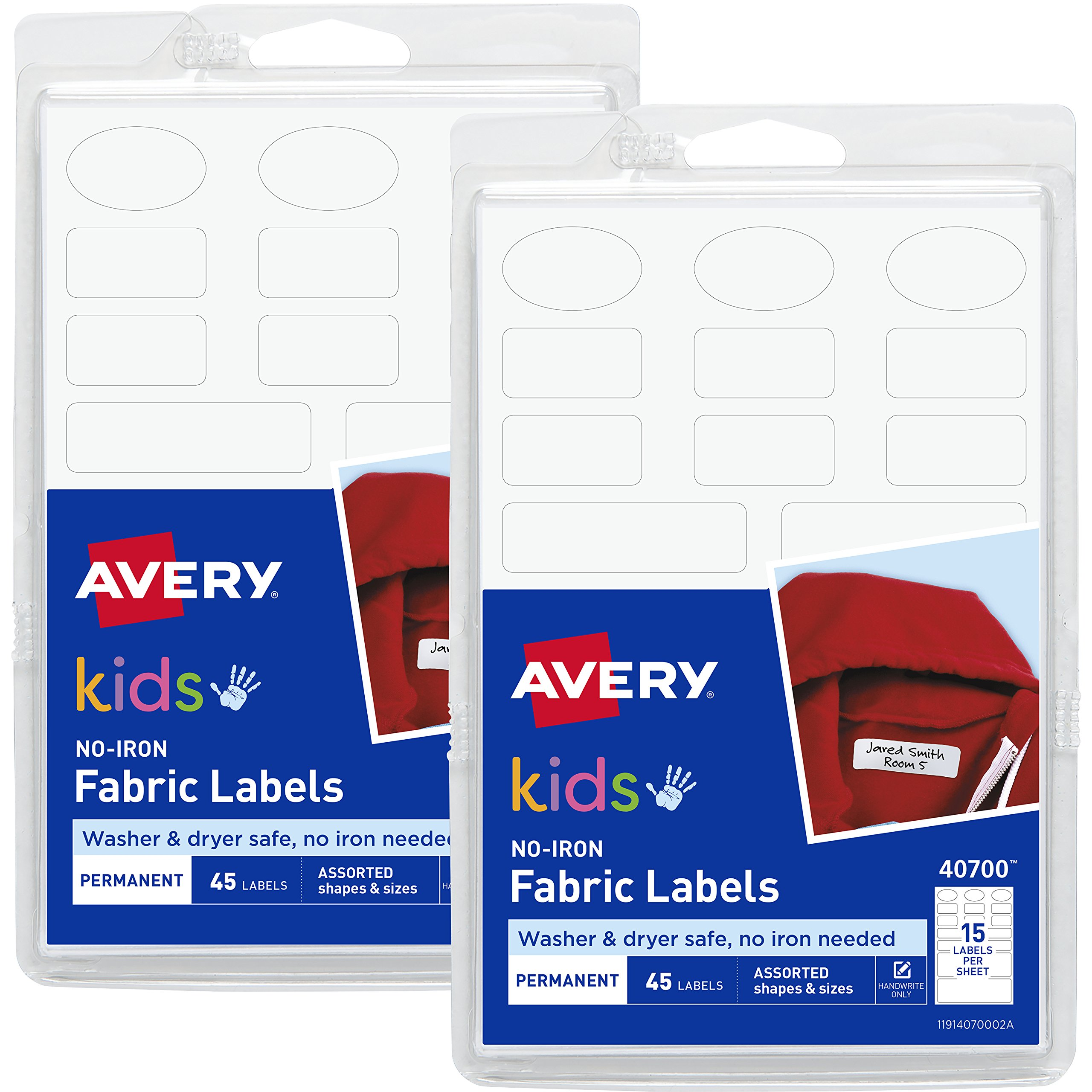 Avery No-Iron Kids Clothing Labels, Washer & Dryer Safe, Assorted Shapes & Sizes, (2-Pack) 90 Labels (40700)