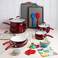 Tasty 30-Piece Heavyweight Non-Stick Ceramic Cookware Set with Google Home Mini (Multiple Colors)