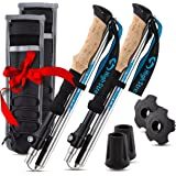 High Stream Gear Foldable Hiking & Trekking Poles, 2 Lightweight Collapsible Walking Sticks, Adjustable Quick Lock Folding Poles with Unique Belt Mounted Holders Gift, Guaranteed