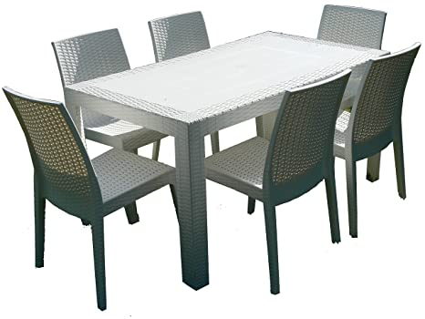 Dimaplast set garden tavolo e sedie da giardino bianco amazon