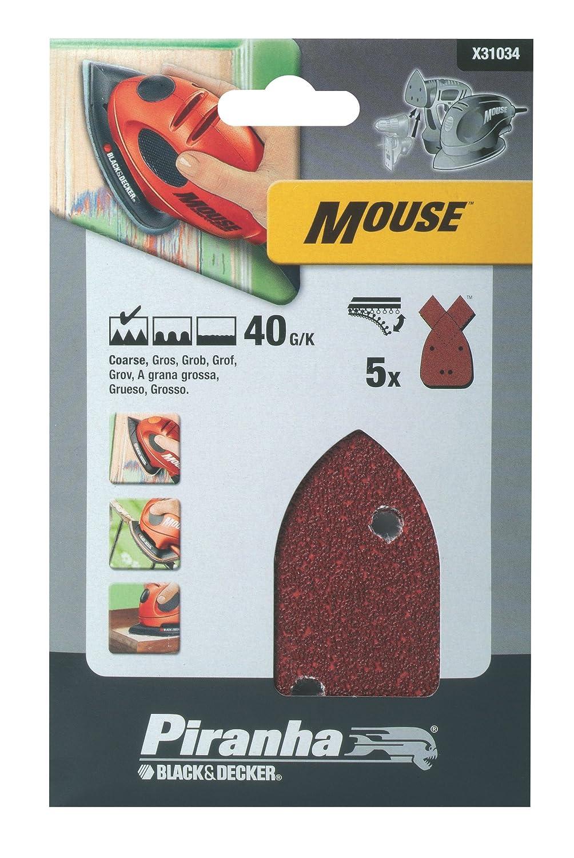 Black + Decker X31034 Papier abrasif pour ponceuse Mouse Lot de 5 40G (Import Grande Bretagne) Stanley Black & Decker France X31034-XJ