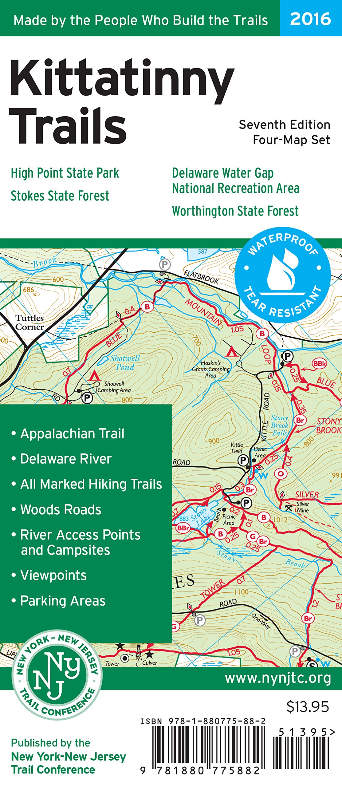 Read Online Kittatinny Trails Map: Delaware Water Gap National Recreation Area, High Point State Park, Stokes State Forest, Worthington State Forest pdf epub