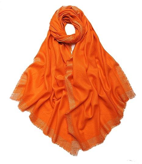 d3d22f0bdd7 Prettystern - 200 70cm Losanges argenterie tissé 100% laine Taille XL unie  châle pashmina - orange  Amazon.fr  Vêtements et accessoires