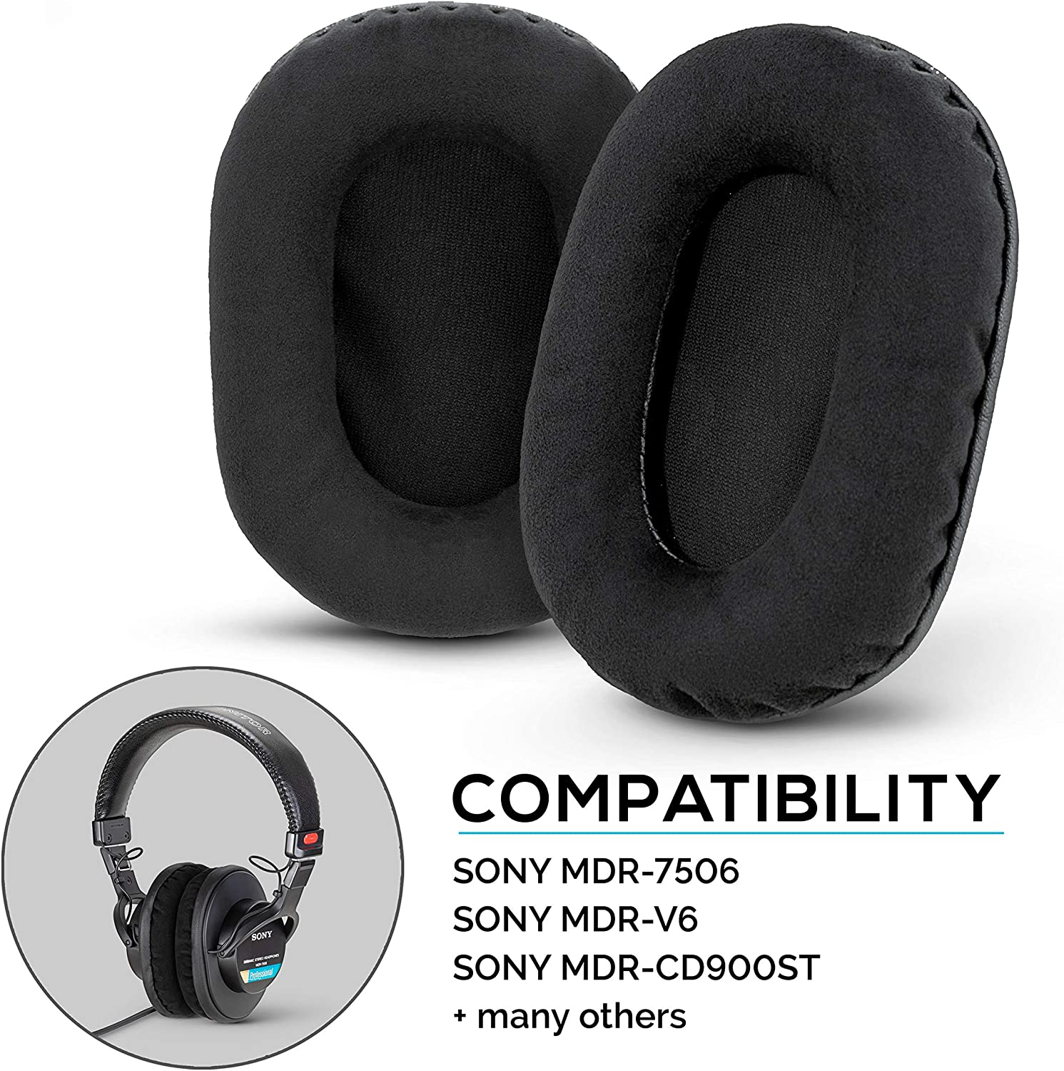 Brainwavz Micro Suede Earpads for Sony MDR 7506, V6, CD900ST, Memory Foam Ear Pad & Suitable for Other On Ear Headphones, Micro Suede Black