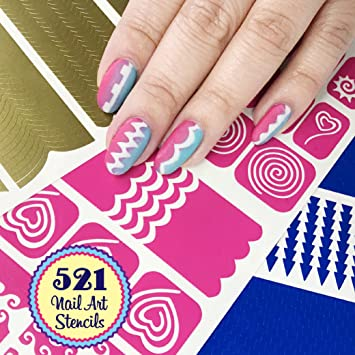Amazon Nail Art Stencils Stickers Vinyl Variety Collection