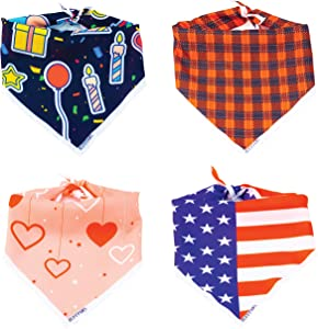 Dog Bandana Scarf - 4 Pack 100% Polyester Dog Handkerchief for Small, Medium and Large Dogs|Cute Dog Accessories Set by RUFF PAWS|Soft Bib for Boy and Girl Dogs|Great for Holidays, Birthdays, Travel