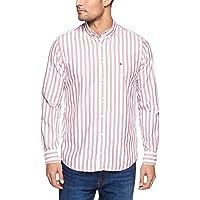 Tommy Hilifiger Men's Fresh Regimental Stripe Shirt, Red/Medium Blue/Bw