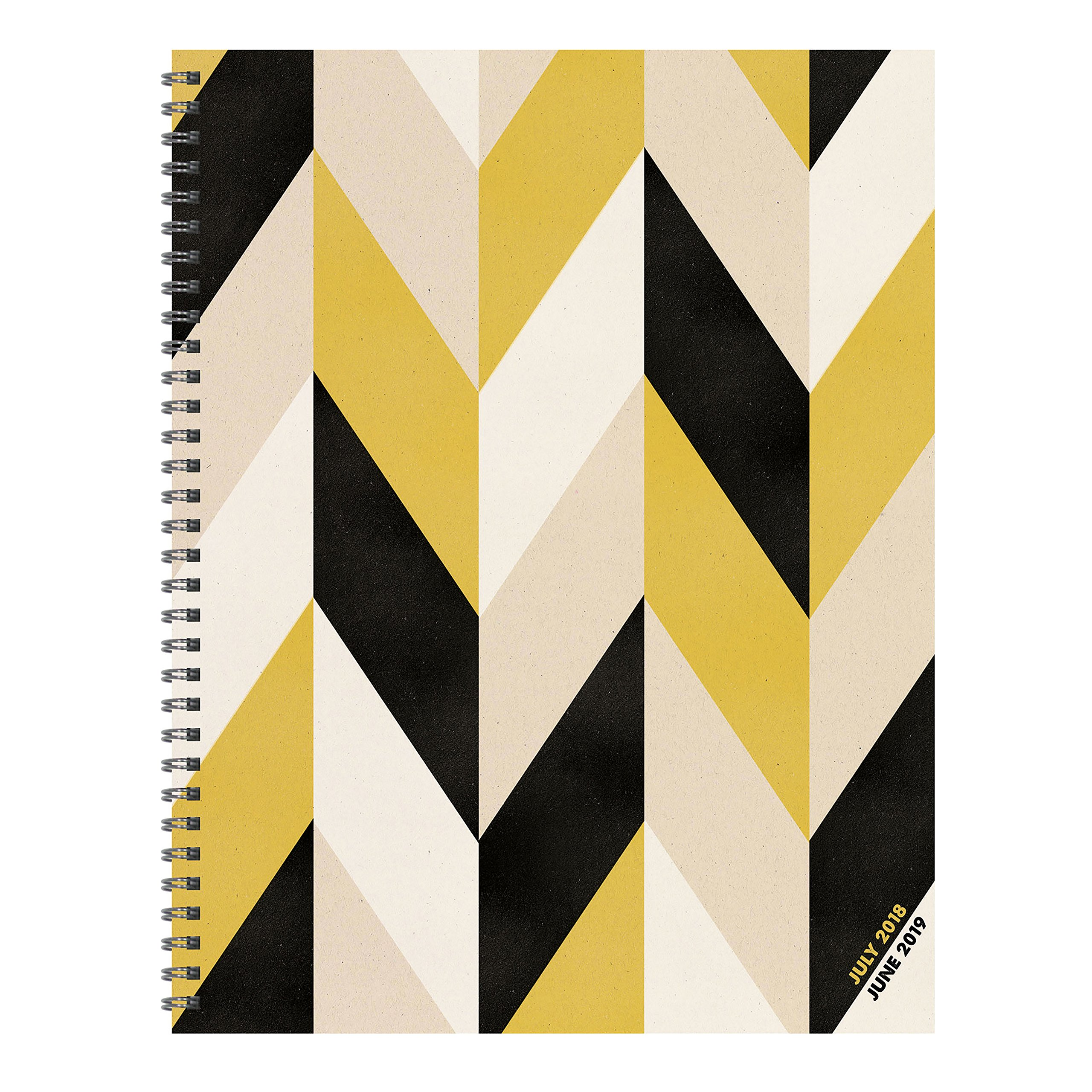 TF Publishing 19-9781A July 2018 - June 2019 Geometric Large Weekly Monthly Planner, 9 x 11'', Beige, Black & Gold