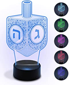 Ner Mitzvah Chanukah Decorative Light-up Arcylic Dreidel - Hanukkah Led Multicolored Party Decor - Holiday Decoration for Table - High Tech Hanuka Centerpiece Gadget