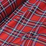 Red & Black Royal Stewart Poly-Viscose Tartan Fabric (Per Metre) by Nortex Mill