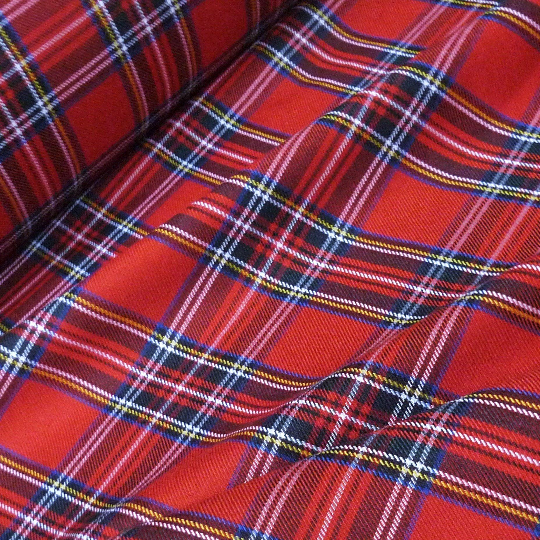 Nortex Mill Red & Black Royal Stewart Poly-Viscose Tartan Fabric (Per Metre)