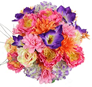 Admired By Nature GPB7316-PK/PUR/CORL 36 Stems Artificial Full Blooming Flowers, Pink/Purple/Coral