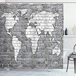 """Ambesonne Wanderlust Shower Curtain, World Map on Old Brick Wall Construction Grunge Antique Stained Abstract, Cloth Fabric Bathroom Decor Set with Hooks, 70"""" Long, Grey White"""