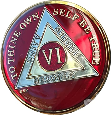 6 Year Gold /& Nickel Plated AA Alcoholics Anonymous Medallion Bi Plate Sobriety