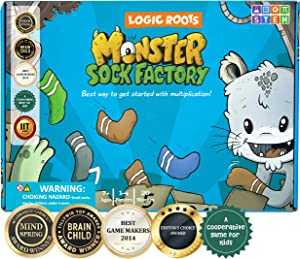 Logic Roots Monster Sock Factory Multiplication and Division Game - Fun Math Board Game for 6 - 10 Year Olds, Easy to Play STEM Toy for Kids at Home, Learning Gift for Girls & Boys, Grade 1 and Up
