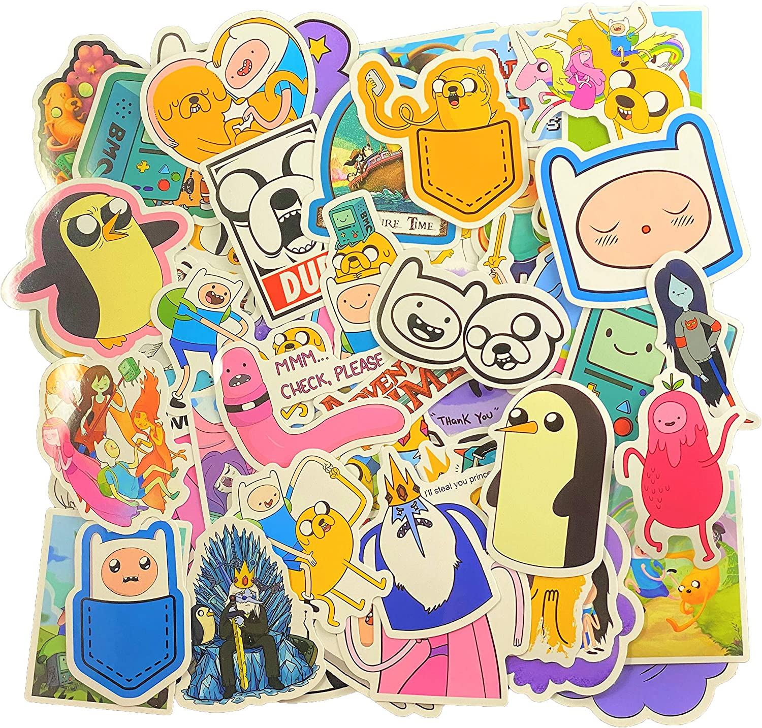 Adventure Time Stickers Pack [66 pcs] Waterproof Vinyl Car Sticker for Laptop Motorcycle Bicycle Luggage Decal Graffiti Patches Skateboard Stickers for Kid and Adult