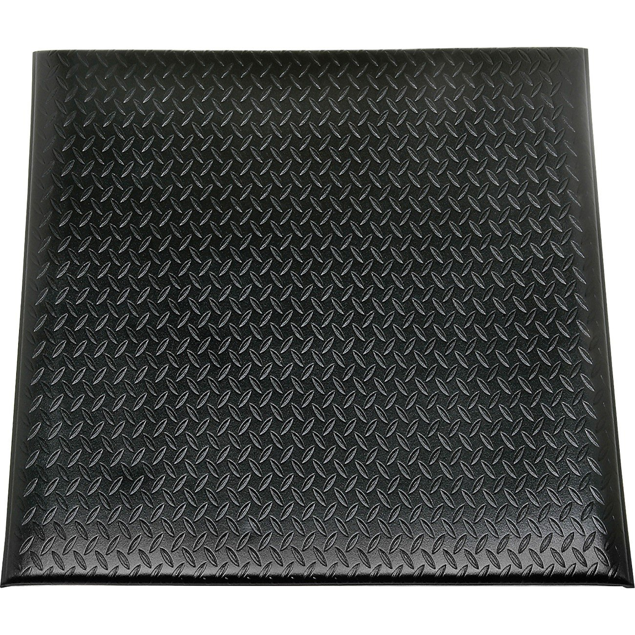 SKILCRAFT 7220-01-582-6231 Industrial Duty Anti Fatigue Mat with Yellow Safety Stripe, 3' Length x 2' Width, 9/16'' Thick, Black by Skilcraft
