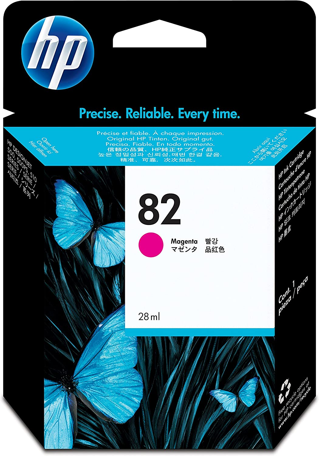 HP CH567A - Cartucho de tinta numéro 82 para HP DesignJet 10 PS/500/510, 28 ml, color magenta: Hp: Amazon.es: Oficina y papelería