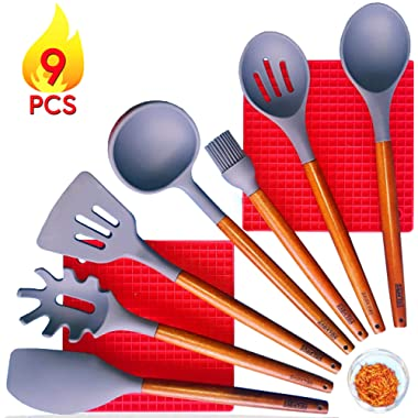 Silicone Kitchen Utensils Set with Pot Holder - Acacia Wood Cooking Utensil Set- Spatula Cookware Set with Wooden Handles - Heat Resistant Non Stick - Tools for Serving - Spoons, Turner, Ladle, Brush