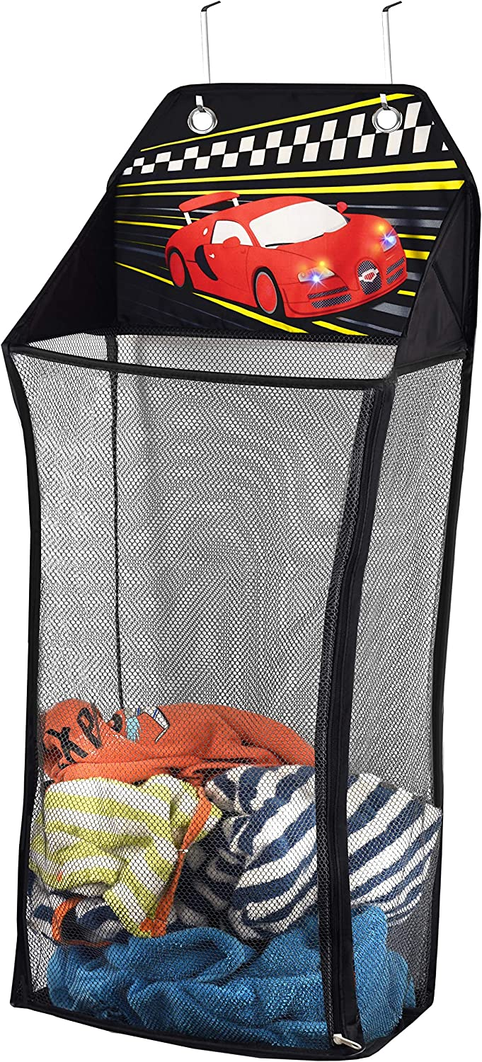 Store&Score Over The Door Hanging Kids Fun LED Race Car Light-Up Collapsible Mesh Laundry Hamper, Toy Chest, Metal Hooks Included