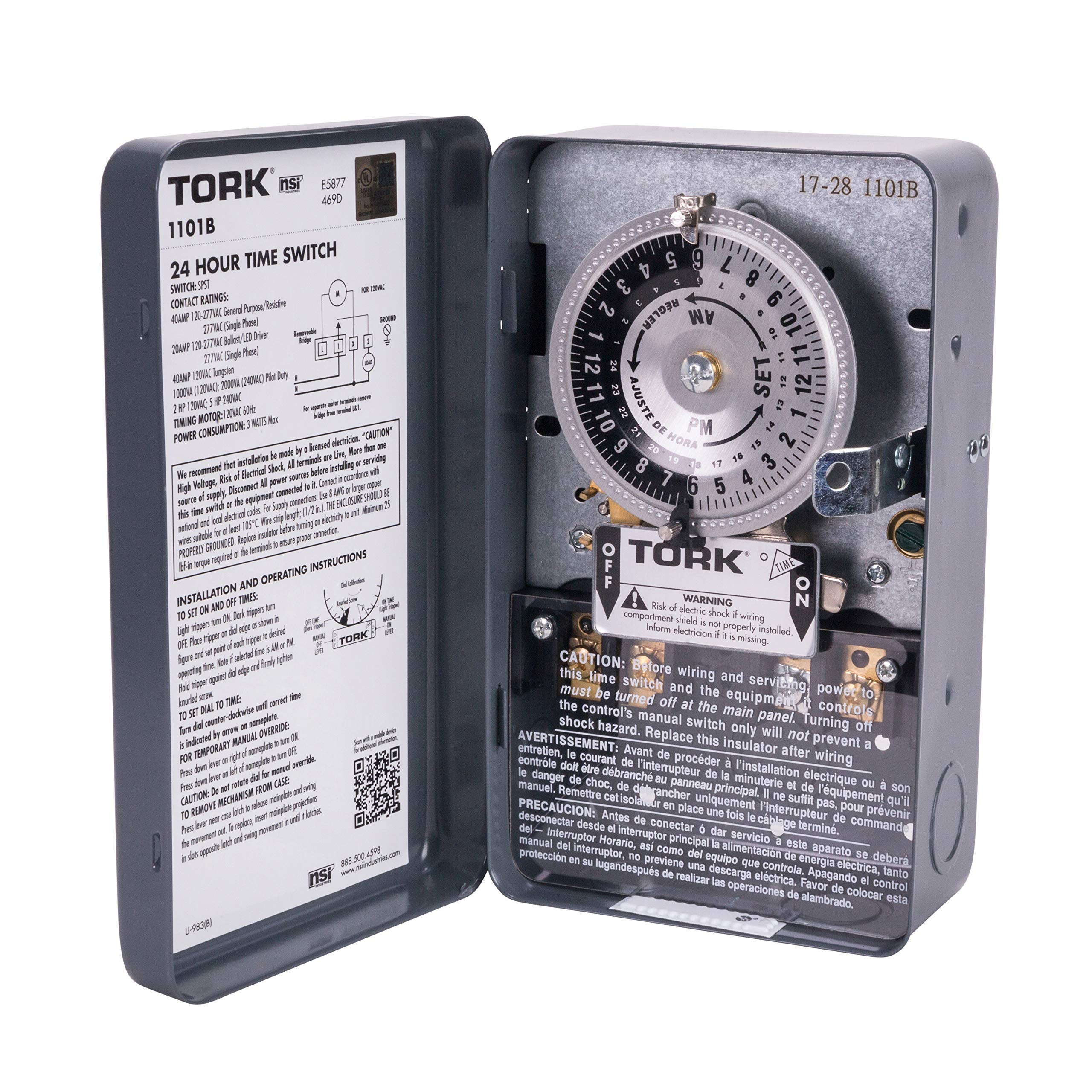 NSi Industries TORK 1101B Indoor 40-Amp Mechanical Lighting and Appliance Timer - 24-Hour Programming - Multiple On/Off Settings - 120 Volt - Gray Enclosure by NSI