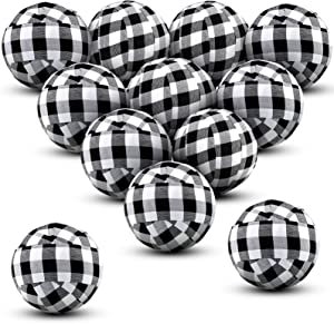 Tatuo 12 Pieces Thanksgiving Buffalo Check Fabric Wrapped Balls Christmas Holiday Gingham Bowl Fillers for Farmhouse Home Decoration, 2 Inch (Black and White)
