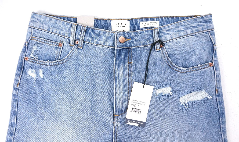 Insight New Denim LT WASH City RIOT Slim FIT Distressed Cut-Off Jean Shorts 36